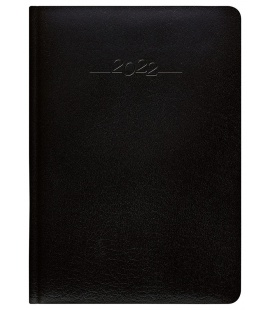 Leather diary A5 daily Carus black 2022