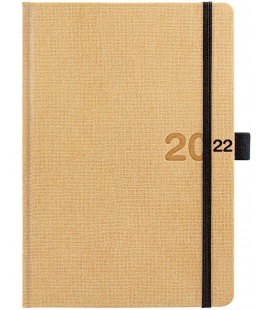 Daily Diary A5 Canvas beige, black 2022