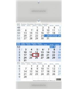 Wall calendar Tříměsíční modrý 2022