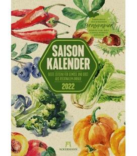 Wall calendar Saisonkalender - Obst & Gemüse - Graspapier-Kalender 2022